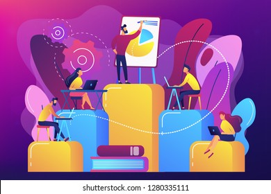 Employees with laptops learning at professional trainig. Internal education, employee education, professional development program concept. Bright vibrant violet vector isolated illustration