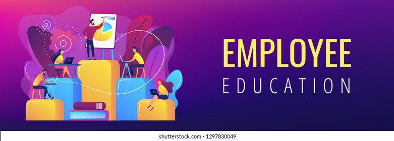 Employees with laptops learning at professional trainig. Internal education, employee education, professional development program concept. Header or footer banner template with copy space.