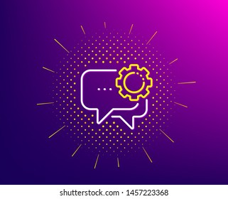 Employees messenger line icon. Halftone pattern. Speech bubble sign. Chat message symbol. Gradient background. Employees messenger line icon. Yellow halftone pattern. Vector