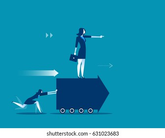 Employees push forward arrow and boss standing at on arrow. Concept buisness illustration. Vector success.