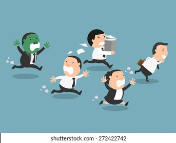The employees running away from their bad boss