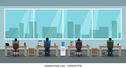 Employees sitting back at tables. Office interior. Teamwork. Vector illustration.