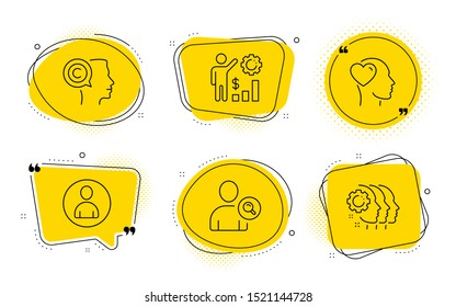 Employees wealth, Find user and Employees teamwork signs. Chat bubbles. Friend, Avatar and Writer line icons set. Love, User profile, Copyrighter. Results chart. People set. Line friend icon. Vector