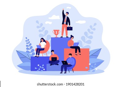 Employees working and competing for success on career growth ladder. Vector illustration for corporate hierarchy, career planning, business competition, leadership concept