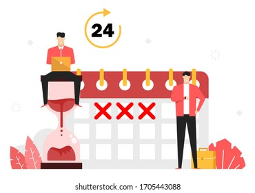 Employees are working to complete the deadline,Working according to the schedule,Time,calendar and hourglass,Illustration vector red tone symbol flat