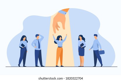 Employer choosing best professional in group of candidates, giving hand to woman under spotlight. Vector illustration for employment, HR, talent, candidate selection concept