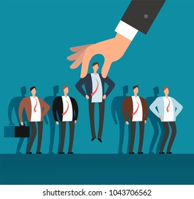 Employer hand choosing man from selected group of people. Recruitment vector business concept. Human recruitment, select and choice illustration