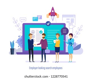 Employer looking search employees. Conduct an interview with candidate for job, human resources management, personnel department. Recruitment for joint start-up project, teamwork. Vector illustration.