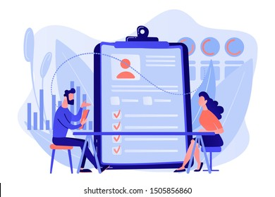 Employer meeting job applicant at pre-employment assessment. Employee evaluation, assessment form and report, performance review concept. Living coral blue vector isolated illustration