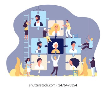 Employment agency concept. Online recruitment and job search, human resource and recruiting, vacancy advertising vector background. Illustration candidate and recruitment management