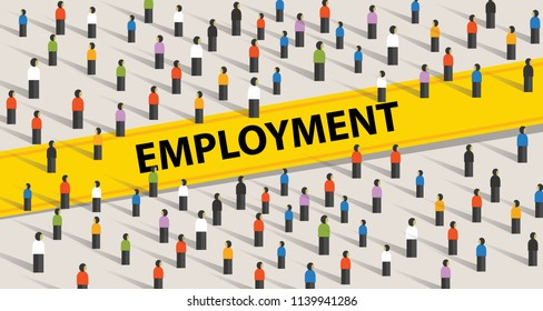 Employment concept. Crowd of people, individuality and diversity concept in vector
