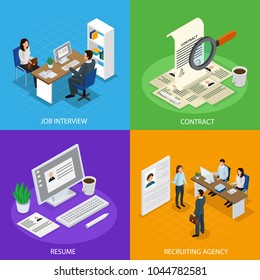 Employment concept isometric icons square with  recruitment agency job interview resume hiring manager contract isolated vector illustration