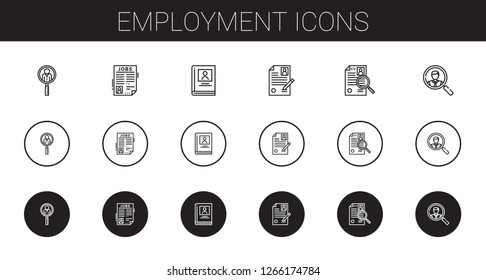 employment icons set. Collection of employment with job search, biography, curriculum. Editable and scalable employment icons.