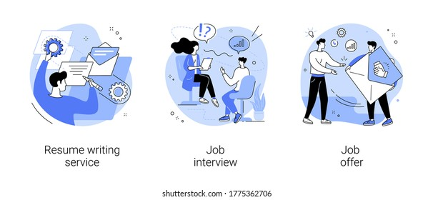 Employment process abstract concept vector illustration set. Resume writing service, job interview, job offer, CV online, cover letter, candidate profile, recruiter, hiring manager abstract metaphor.