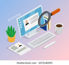 Employment and recruitment resume search for hiring right job candidate isometric composition with magnifying glass vector illustration