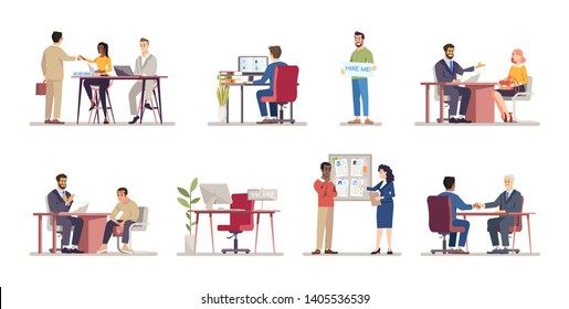 Employment service flat vector illustrations set. HR managers, employers, recruiters hiring staff cartoon characters. Headhunting, recruitment. Job seekers, vacancy candidates, applicants at interview