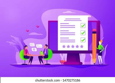 Employment service, recruitment agency. Candidate sourcing, HR interview. Employee evaluation, assessment form and report, performance review concept. Vector isolated concept creative illustration