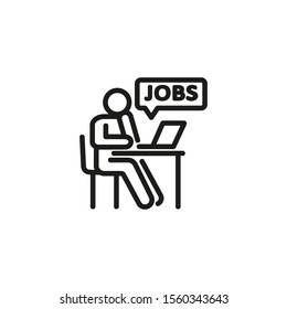 Employment thin line icon. Unemployed man reviewing job ads at computer isolated outline sign. Job search concept. Vector illustration symbol element for web design and apps