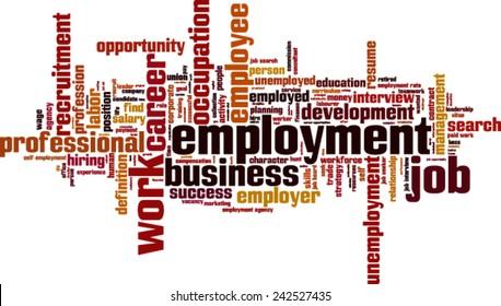 Employment word cloud concept. Vector illustration
