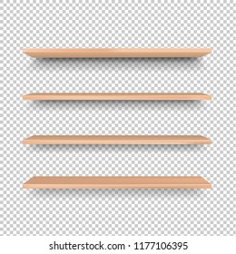 Emply Wooden Shelf Isolated Transparent Background, Vector Illustration