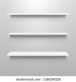 Emply Wooden Shelf Set Isolated White Background With Gradient Mesh, Vector Illustration
