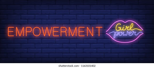 Empowerment neon sign. Girl power text in lips shaped frame on brick wall background. Vector illustration in neon style for gender equality or feminism