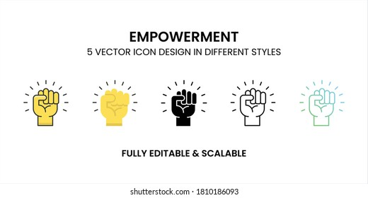 Empowerment vector icon in colored outline, flat, glyph, line and gradient