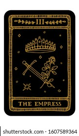 The Empress. Hand drawn major arcana tarot card template. Tarot vector illustration in vintage style with mystic symbols, crystals and line art stars. Witchcraft concept for tarot readers