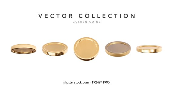 Empty 3d gold coins set isolated on white background in different positions. Rain of golden coins. Falling or flying money. Cash treasure concept. Vector illustration
