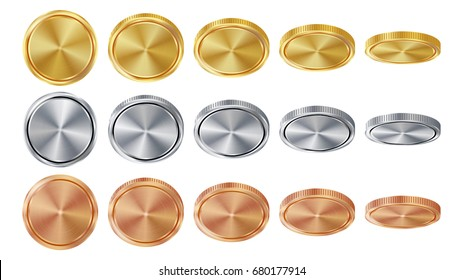 Empty 3D Gold, Silver, Bronze Coins Vector Blank Set. Realistic Template. Flip Different Angles. Investment, Web, Game App Interface Concept. Coin Icon, Sign, Banking Cash Symbol. Currency Isolated