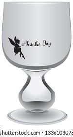 Empty absinthe-free glass for Absinthe Day celebration with fairy and text Absinthe Day,