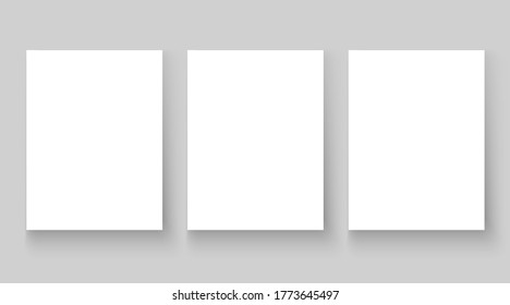 Empty affiche mockup copy. Blank white paper sheet template set isolated on grey background. Poster with drop shadows, A4 page mockup for print production as cover , banner vector illustration