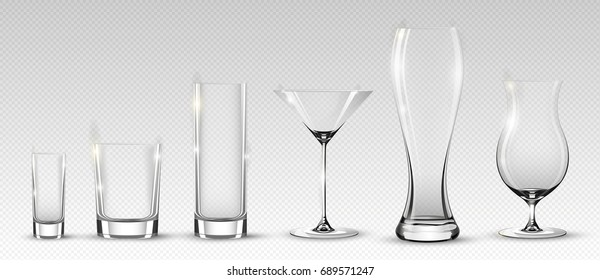 Empty Alcohol Glasses Collection