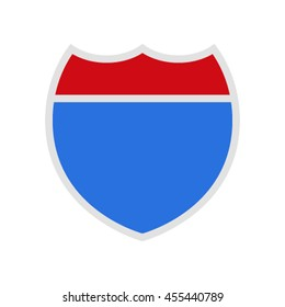 Empty American Interstate Highway sign. Flat Vector illustration isolate on a white background