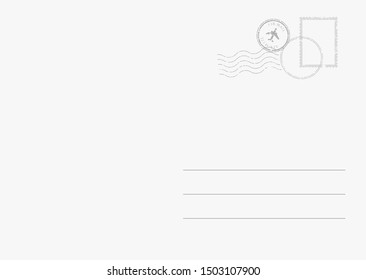Empty backside of a travel postal card. Postcard design template