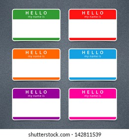 Empty badge name tag HELLO my name is. Color blank stickers white label with black shadow with gray grainy noise effect texture background. Vector illustration design element 10 eps