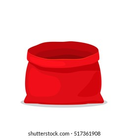 empty bag of Santa Claus. Christmas element. flat vector illustration isolate on a white background. easy to use