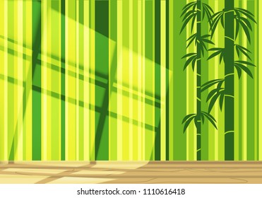 empty bamboo room in green light with sunlight on the wall and the reflection of the window