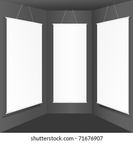 empty banner display on wall, eps10 vector illustration