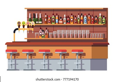 Empty bar counter. Bar beer tap pump, stools, shelves with alcohol bottles. Pub with beer glasses. Flat vector isolated illustration on white background.