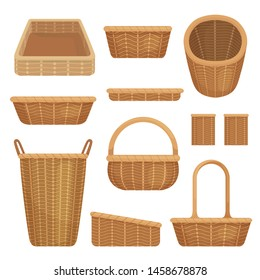 Empty baskets set isolated on white background. Wicker picnic baskets, Easter holiday, container clean.