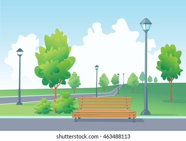 Empty bench in the park. Park with street lamps, trees, bushes and walkway with borders.
