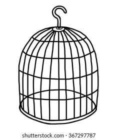 empty bird cage / cartoon vector and illustration, black and white, hand drawn, sketch style, isolated on white background.