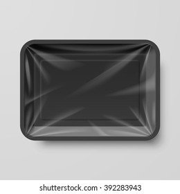 Empty Black Plastic Food Container on Gray