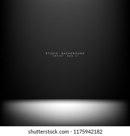 Empty black Studio room Backdrop. Light interior with copyspace for your creative project . Vector illustration EPS 10