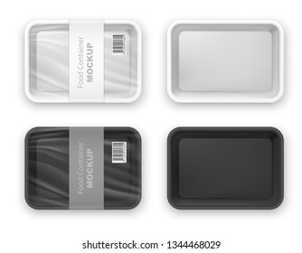 Empty black and white plastic fast food tray container mockup. Product package blank template. Realistic 3d vector illustration isolated on white background