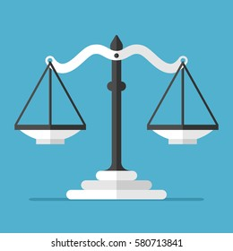 Empty black and white scales on blue background with drop shadow. Justice, measurement, choice and balance concept. Flat design. Vector illustration. EPS 8, no transparency