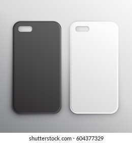 empty black and white smartphone cases set