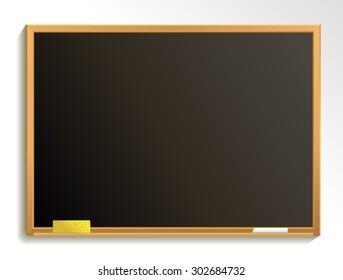Empty blackboard with chalk and sponge. Chalkboard background. Vector illustration