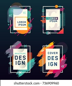 Empty or blank business cards with modern design. Frame for photography or brochure, paper flyer with splashes or poster for art, music or dance entertainment in rectangle form. Hipster theme